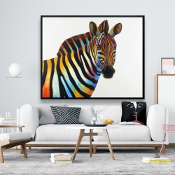 Framed 48 x 60 - Colorful profile view of a zebra