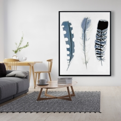 Framed 48 x 60 - Delicate blue feathers