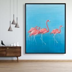 Framed 48 x 60 - Four flamingos