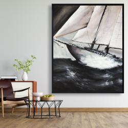 Framed 48 x 60 - Boat in a violent storm