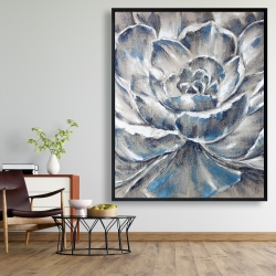 Framed 48 x 60 - Gray and blue flower