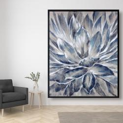 Framed 48 x 60 - Blue and gray flower