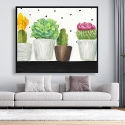 Framed 48 x 60 - Mini cactus and succulents