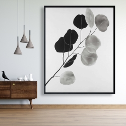 Framed 48 x 60 - Grayscale branch with round shape leaves