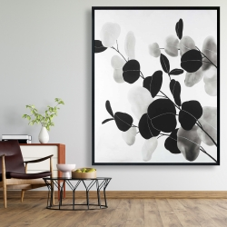 Framed 48 x 60 - Grayscale branches with leaves