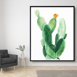 Framed 48 x 60 - Watercolor paddle cactus with flower