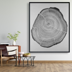Framed 48 x 60 - Grayscale wood log