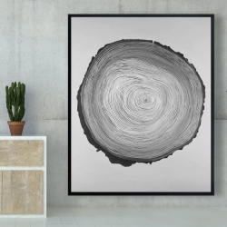 Framed 48 x 60 - Grayscale round wood log