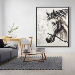 Framed 48 x 60 - Alpha the white horse