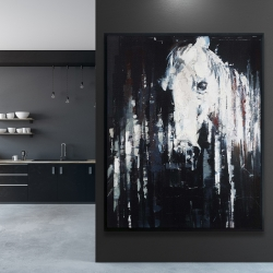 Framed 48 x 60 - Abstract horse on black background