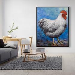 Framed 48 x 60 - Grey rooster
