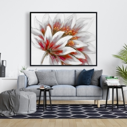 Framed 48 x 60 - Red flower with gold center