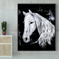 Framed 48 x 60 - Abstract horse profile view