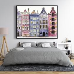 Framed 48 x 60 - Old historic houses amsterdam
