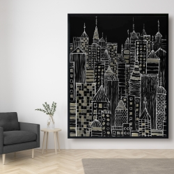 Framed 48 x 60 - Illustrative city towers