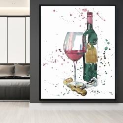 Framed 48 x 60 - Bottle of red wine