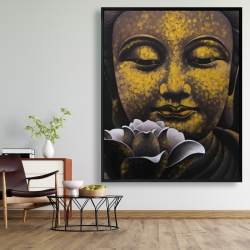 Framed 48 x 60 - The eternal smile of buddha and his lotus