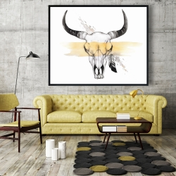 Framed 48 x 60 - Cow skull with feather