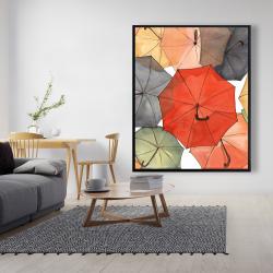 Framed 48 x 60 - The umbrellas of petit champlain
