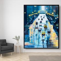 Framed 48 x 60 - Rainy streets of new york