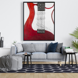 Framed 48 x 60 - Red electric guitar