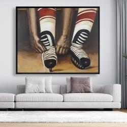 Framed 48 x 60 - Hockey player ties his skates