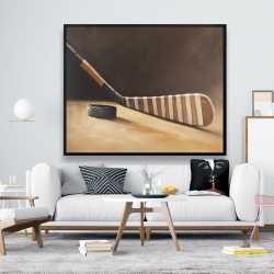 Framed 48 x 60 - Stick and hockey puck