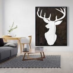 Framed 48 x 60 - Silhouette of a deer on wood