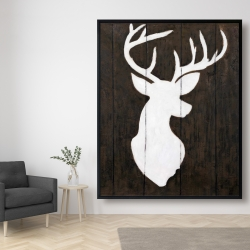Framed 48 x 60 - White silhouette of a deer on wood