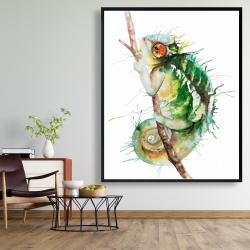 Framed 48 x 60 - Watercolor chameleon