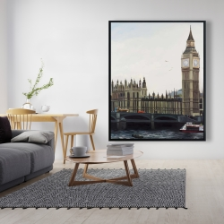 Framed 48 x 60 - Big ben clock elizabeth tower in london