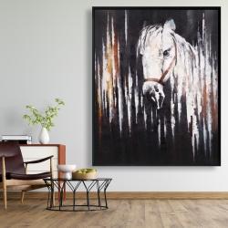 Framed 48 x 60 - White horse in the dark