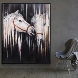 Framed 48 x 60 - Two white horses kissing
