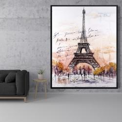 Framed 48 x 60 - Eiffel tower sketch with an handwritten message