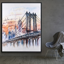 Framed 48 x 60 - Bridge sketch n-y