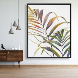 Framed 48 x 60 - Watercolor tropical palm leaves