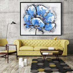 Framed 48 x 60 - Abstract blue petals