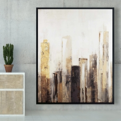 Framed 48 x 60 - Earthy tones city