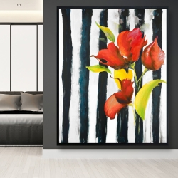 Framed 48 x 60 - Flowers on black and white stripes
