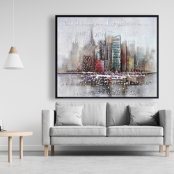 Framed 48 x 60 - Cityscape with typography in relief