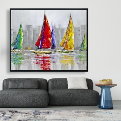 Framed 48 x 60 - Sailboats in the wind