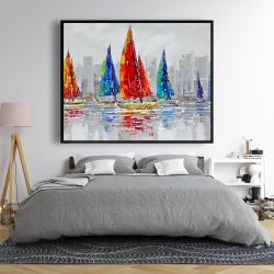 Framed 48 x 60 - Colorful boats near a gray city
