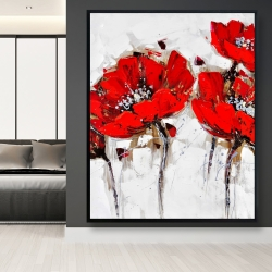 Framed 48 x 60 - Red poppies with texture