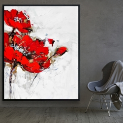 Framed 48 x 60 - Abstract red flowers with texture