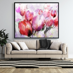 Framed 48 x 60 - Abstract blurry tulips