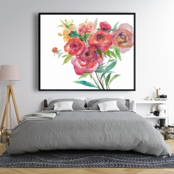 Framed 48 x 60 - Watercolor bouquet of flowers