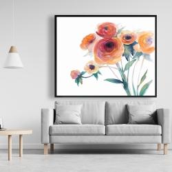 Framed 48 x 60 - Watercolor flowers