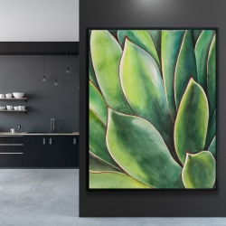 Framed 48 x 60 - Watercolor agave plant