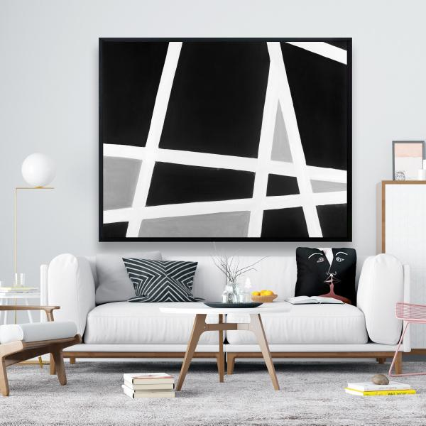 Framed 48 x 60 - Black and white abstract lines