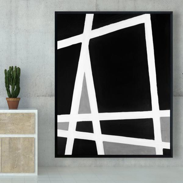 Framed 48 x 60 - Black and white abstract shapes